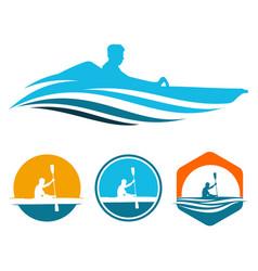 Boat kayak paddle canoe rowing with sunrise logo vector