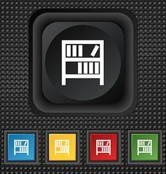 Bookshelf icon sign symbol Squared colourful vector