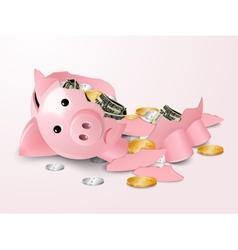 Broken piggybank vector