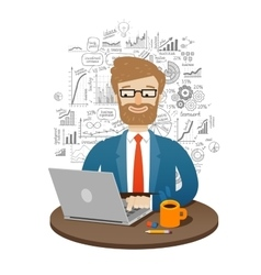 business businessman working on laptop vector image