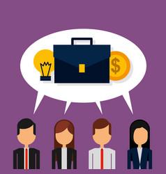 Business people speak bubble suitcase coins money vector