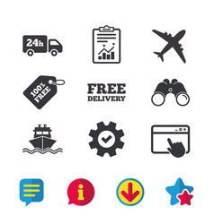 Cargo truck shipping free delivery service vector