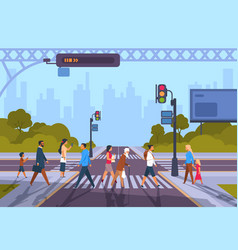 Cartoon pedestrians city crosswalk with diverse vector