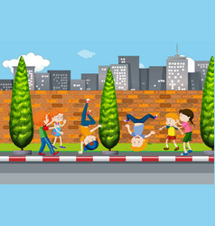 children dancing on street vector image