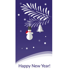 christmas greeting card with snowman and vector image