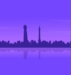 city building in londing scenery silhouettes vector image