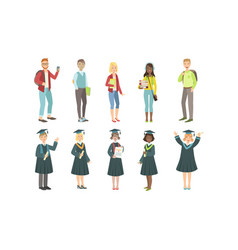 college or university students set happy vector image