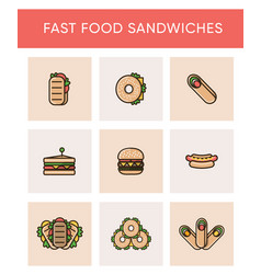 Colorful icons of different sandwiches vector