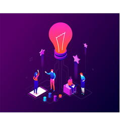 creative team - modern colorful isometric vector image