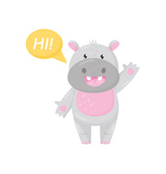 cute adorable hippo saying hi and waving his hand vector image
