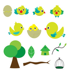 cute bird with houses vector image