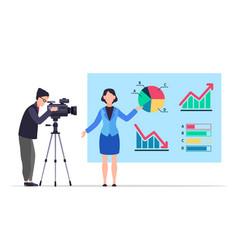 Economic news people record reportage tv vector