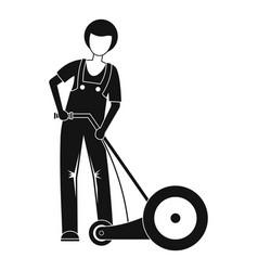 farmer cut grass icon simple style vector image