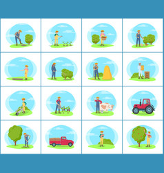 farmer working on farm cartoon set of banners vector image
