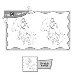 find 9 differences game dance woman vector image