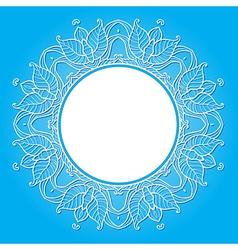 floral frame on a blue background vector image