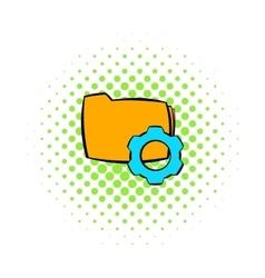 Folder with gear wheel icon comics style vector