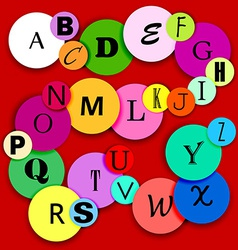 fun alphabet on multicolor circles-2 vector image