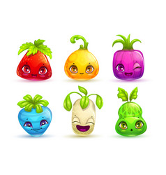 Funny cartoon colorful fantasy plant characters vector