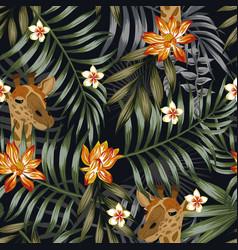 Giraffe head plumeria lotus flowers seamless vector