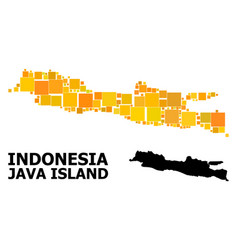 Gold square pattern map java island vector