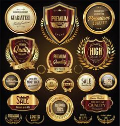Golden sale shields laurel wreaths and badges vector