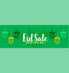 green eid sale banner with hanging lanterns vector image