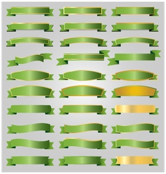 Green ribbons set vector