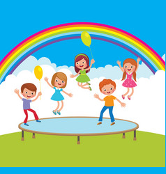 Group of happy children jumping on the trampoline vector