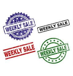 Grunge textured weekly sale stamp seals vector