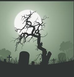 Halloween spooky dead tree in graveyard vector