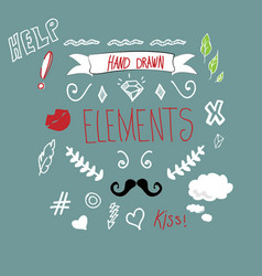 Hand drawn icon elements vector