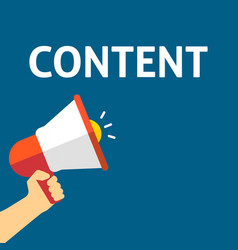 hand holding megaphone with content announcement vector image