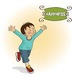 Happy little boy who runs vector