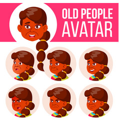 Indian old woman avatar set face emotions vector
