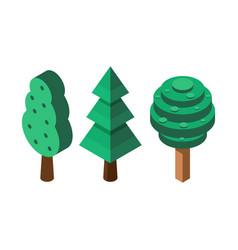 isometric tree icons vector image