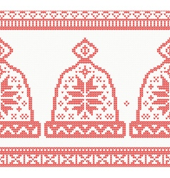 Knitted Cap Seamless Pattern in Red Color vector image