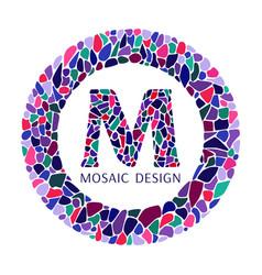 letter m of mosaic design logo vector image
