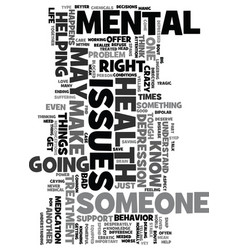 Mental health issues text background word cloud vector