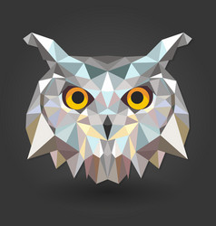 owl bird animal 3d low poly white vector image