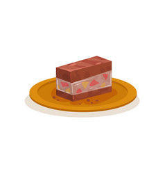Piece of traditional malaysian cake sweet dessert vector
