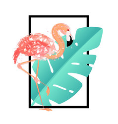 pink flamingo with tropical leaves card vector image