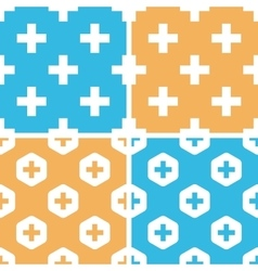Plus symbol pattern set colored vector image