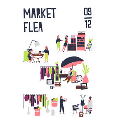 poster template for flea market or rag fair vector image