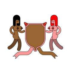 Prostitution symbol girl and shield heraldic vector