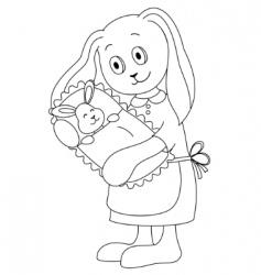 Rabbit family vector