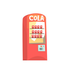 red vending machine with cola cans cartoon vector image