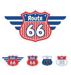 Route 66 red and blue icon vector