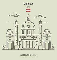 Saint charles church in vienna vector