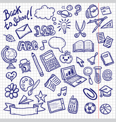 school objects icons doodle collection vector image